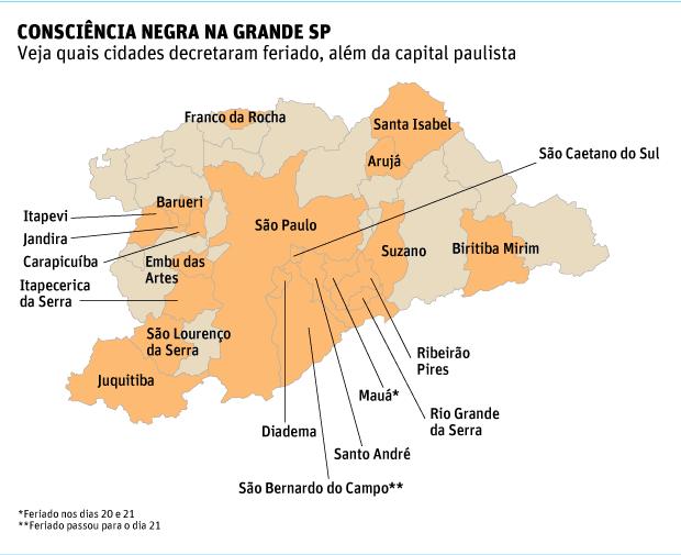 Cidades que decretaram o feriado da Consciência Negra. (Fonte: Folha de São Paulo)